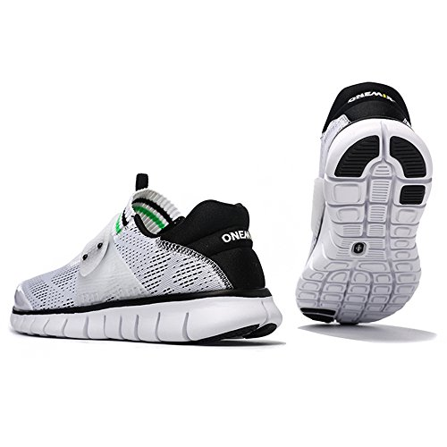 ONEMIX Air Scarpe da Ginnastica Corsa Basse Uomo Donna Sportive Running Sneaker Bianco nero