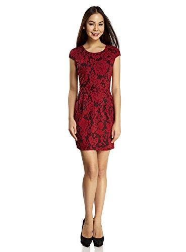 oodji Ultra Damen Enges Kleid aus Strukturiertem Stoff, Rot, DE 34 / EU 36 / ()