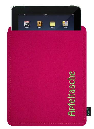 Filztasche für iPad, magenta, mit Stickerei Apfeltasche; speziell angepasst, 100% Wollfilz, Qualität aus Deutschland (Krone-wappen-stickerei)