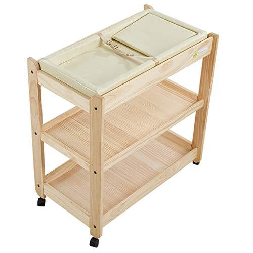 ZQ Wickelaufsatz Hölzerne bewegliche Baby-ändernde Tabelle auf Rädern, Jungen-Mädchen-Säuglingskleinkind-Aufbereiter mit Lagerung und Stoßdämpfer
