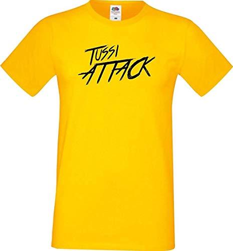 Shirtinstyle Männer T-Shirt Tussi Attack,gelb, M