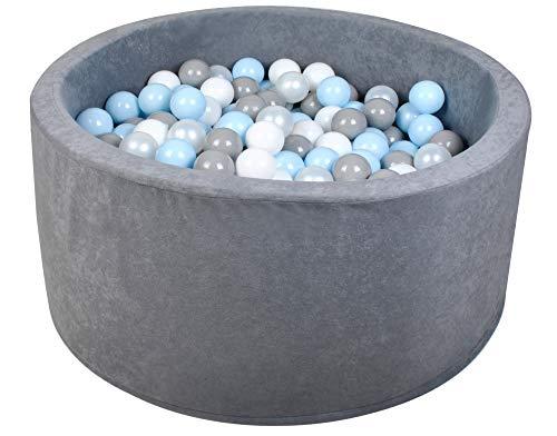 ISO TRADE Piscina De Bolas para Niños Gris Perla-Transparente-Rosa Claro / Gris Perla-Transparente-Azul Claro Negro 90X40cm / 200 Bolas 7cm / 2616, Muster:Grau/Perle-Blau-Grau