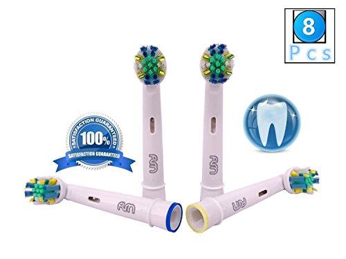 Flm flossaction eb25a - testine di ricambio per spazzolino elettrico compatibili con braun oral b, 8 ricambi