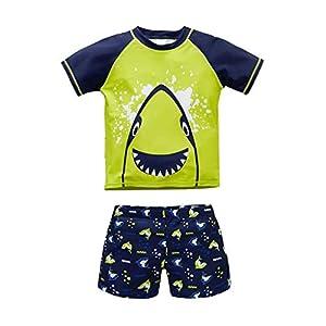 QIAODOUMADAI Traje de baño para bebés Verano Animal Niños 2 Piezas Traje de baño de tiburón Traje de baño Traje de baño… 9