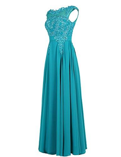 Dressystar Damen Chiffon Tüll Lang Formell Abendkleid Ballkleid mit Spitze Royalblau