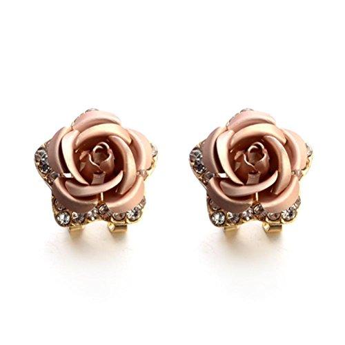 VJGOAL Damen Ohrringe, Frauen Mädchen Modeschmuck Böhmen Blume Strass Ohrringe Sommer Stil Party Frau Geschenk (Beige)