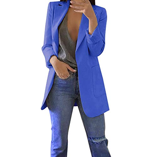 Damen Elegante Blazer MYMYG Sakko Einfarbig Slim Fit Vorne Offnung Tasche Tailliert Geschäft Büro Kurzjacke Jacke Mantel Herbst Winter Langarm Cardigan(Blau,EU:34/CN-S)