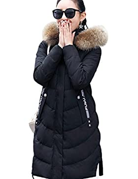Yiiquan donna lungo cappotto invernale manica removibile trapuntata piumino con cappuccio giacca calda