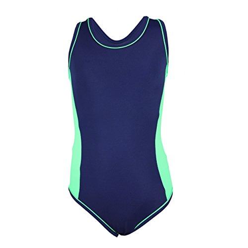 Aquarti Mädchen Badeanzug Racerback Kinder Schwimmanzug , Farbe: Dunkelblau / Grün, Größe: 122 (Badeanzug Grün)