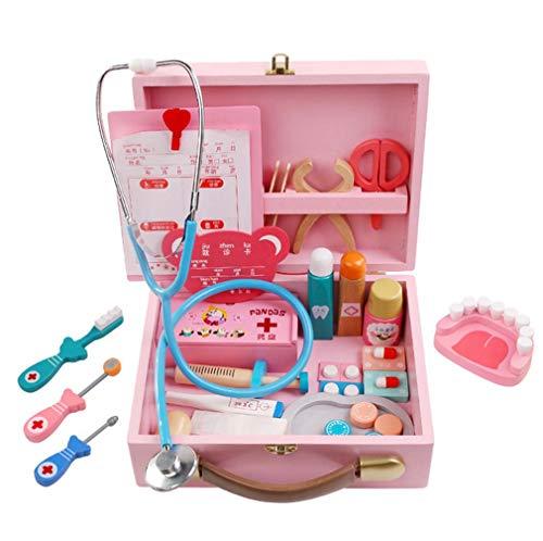 QIDUll Hölzerne Kinder Holz Arzt Spielzeug Set, Kinder Arzt Kit, Arzt Krankenschwester Dress Up Rollenspiel Spaß Spielzeug Geschenk für Kinder (Krankenschwester Zubehör Kit)