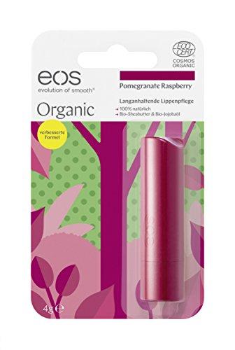 eos Organic Stick Lip Balm Pomegranate Raspberry, natürliche Lippenpflege, Beauty-Pflege für softe Lippen, fruchtiger Lip Stick, Naturkosmetik, 1 x 4 g (Granatapfel-kokos)