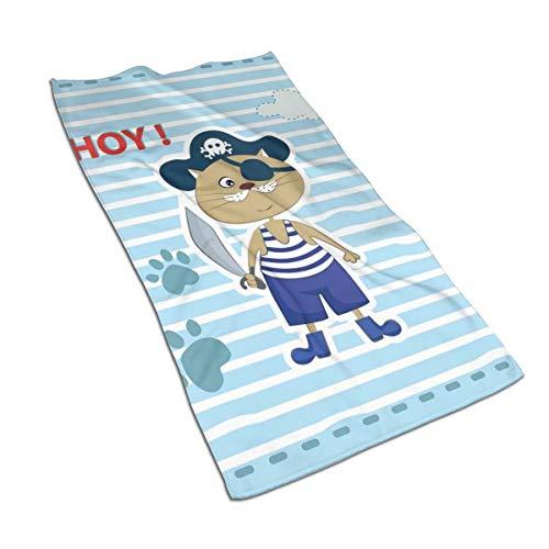JOJOLASQ Kitchen Dish Towels Wash Cloth Car Household Pet Bath Towel,Cute Cat Pirate Funny Paws Clouds Maritime Striped Framework,27.5 Inch X15.7 Inch