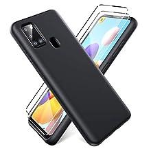 Oududianzi - Cover per Samsung Galaxy A21s + [2 Pack] Pellicola Protettiva in Vetro Temperato, Custodia Liquid Silicone TPU Cover Ultra-Sottile AntiGraffio Antiurto Case - Nero