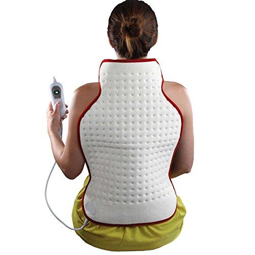 Manta eléctrica para la espalda (100 W, 3 niveles, 62 x 41 cm, lavable, protección contra sobrecalentamiento, suave fieltro)