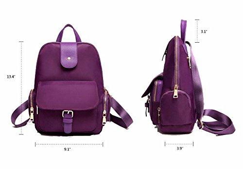 Damen Casual Nylon Echtes Leder Laptoptasche Schulrucksack Schulranzen Reisetasche (Rosa) Navy blau