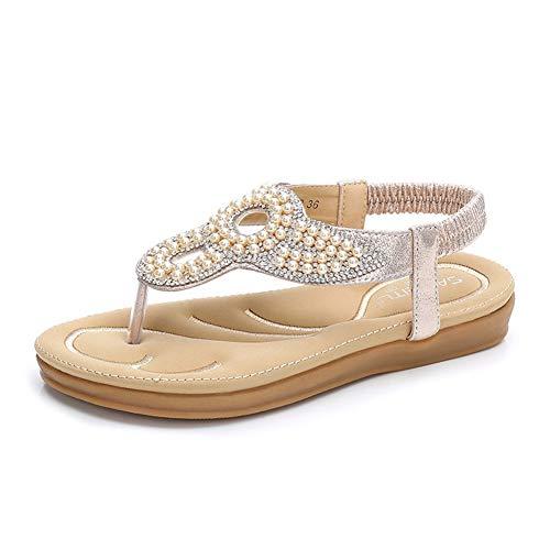 Lxmhz Frauen T-Strap Sandalen Plattform Thongs Strass Ketten Flip Flop Jeweled Sandalen,2,37 Plattform Thong Sandal