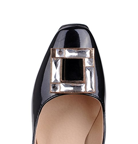 AgooLar Femme Tire Pu Cuir Carré à Talon Haut Mosaïque Chaussures Légeres Noir