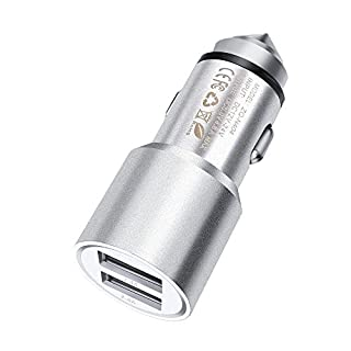 FONE-CASE (Silver) Mini High Power Metal Dual Port USB Car Charger 5V/3.1A With Unique Safety Hammer Function and Blue LED Indicator For Aluratek CINEPAD AT007F