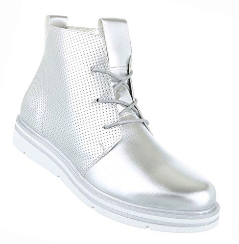 Damen Schuhe Stiefeletten Stiefel Perforierte Boots Schwarz Silber