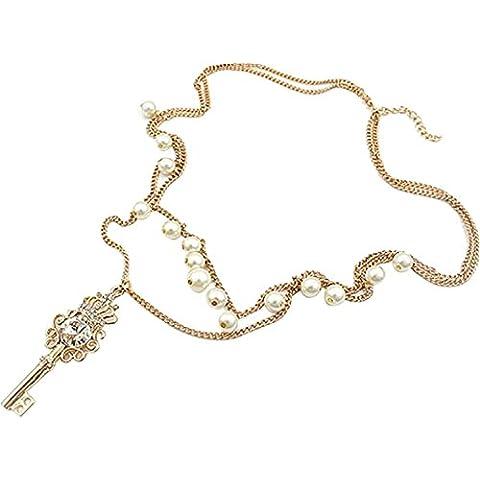 Dansuet Luxury Fashion chiave multistrato cavo con la collana perline bianco Catena, Cavo chiave collana per la donna