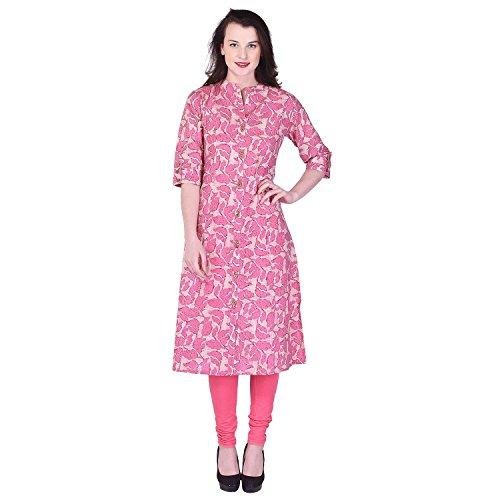 Palakh Women's Cotton Straight Printed Kurti (PK1015391-XXL_XX_Large,Pink)