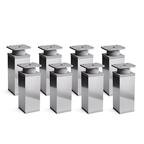 Design-Möbelfüße Doppelpack, 2 x 4er Set (8 Stück), höhenverstellbar | Vierkant-Profil: 40 x 40 mm | Sossai® MFV1-CH | Farbe: Chrom | Höhe: 80mm (+20mm) | Material: Aluminium/Kunststoff
