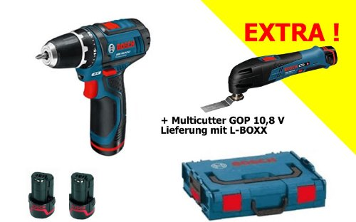 Preisvergleich Produktbild BOSCH Accu-Schrauber GSR 10.8V + Multicutter GOP 10.8V inkl. 2 Accus + Koffer L-BOXX + 31 tlg. BIT-BOX