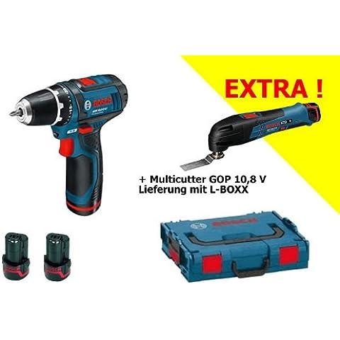 BOSCH GSR 10.8 GOP 10.8V - Kit de atornillador a batería, multi-herramienta a batería, 2 baterías, maletín de transporte y caja de puntas de seguridad (31