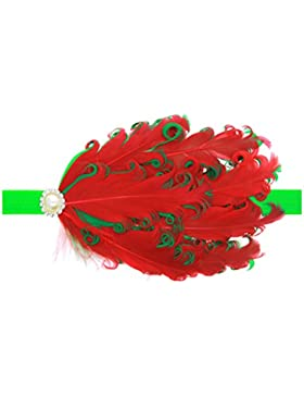 Zhhlaixing Kids Baby Girls Toddler Soft Elastic Feathers Headband Hairband Hair Accessories for Christmas/Photography...