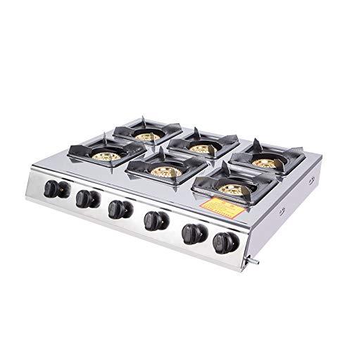 YXS Gewerbe Aufsatz- Gas rangetop, 36 Zoll, 6 Versiegelte Brenner, Brenner Erdgas Bereich - Restaurant Ausrüstung für Suppen, Saucen Stainless Stee, Leicht zu reinigen, hohe Leistung, Gute Qualität -