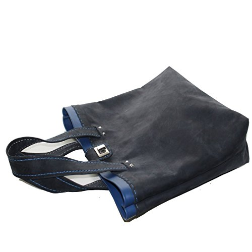 PelleRocK Sac à main en cuir avec bord coloré, Fuchsia (Rose) - Borsa_Giada_fucsia bleu