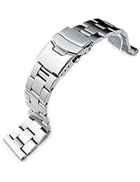 Oyster Bracelet de montre en acier inoxydable 316L massif Extrémité droite Brossé 22mm