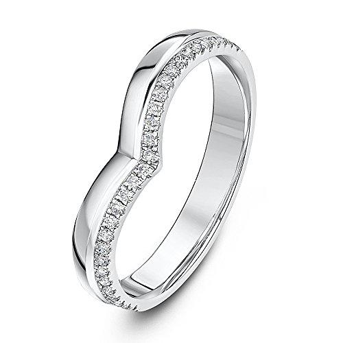 Theia Platinum 0.15ct Diamond 3mm Wishbone Ring - Size I