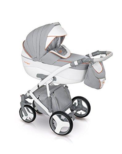 Lux4Kids Kinderwagen Set Babywanne Sportsitz Babyschale Wickeltasche Matratze Buggy optionales Zubehör 3in1 VIP Luxus Made in EU Kinderwagen Avenger+ Autositz Hellgrau-Grau