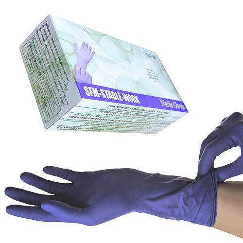 SFM ® STABLE WORK Nitril : XS, S, M, L, XL purpur blau puderfrei LANG F-tex ACC-frei Einweghandschuhe Einmalhandschuhe Untersuchungshandschuhe Nitrilhandschuhe L (100)
