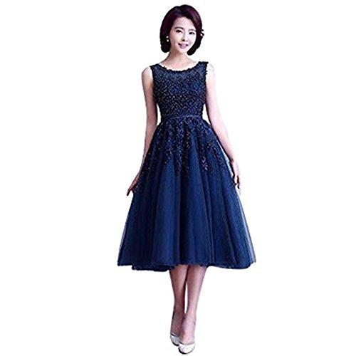 Damen Elegant Ämellos Spitze Abendkleid Hochzeitskleid Standesamt Tüll kleid Kurz Navy Blau 34