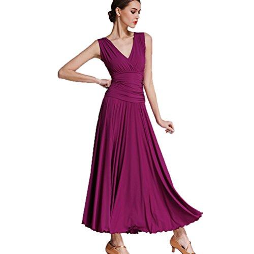 MoLiYanZi Damen Modernes Tanzkleid V-Ausschnitt Klassisch Standardtanz-Outfit Für Leistung, Purple, ()