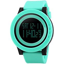 TTLIFE unisex watch mens waistwatchs Fashion Big Dial Sports Watches Silicone Watch Band Waterproof LED Digital Watch (green)