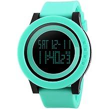 unisexo reloj negro hombre relojes de pulsera de moda dial grande deporte relojes Silicona Reloj Correa Impermeable LED Digital Reloj (Azul)