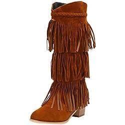 Botas de mujer con tacón medio Gamuza alta Invierno Elegante Negro 38 Botas de mujer Botines Zapatos Biker Botas informales de mujer con flecos bohemios con flecos étnicos