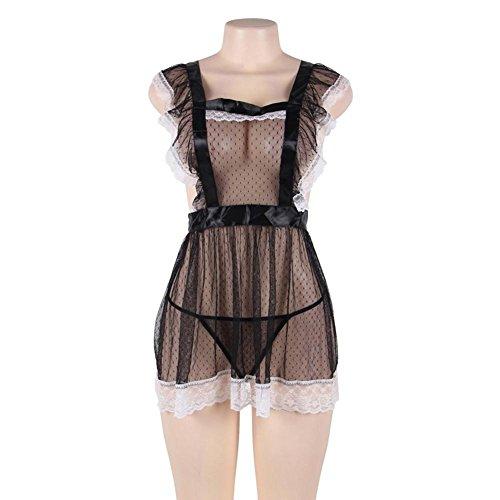 XIONGMEOW Frau Sexy Unterwäsche Extreme Versuchung Dienstmädchen Uniformen Pyjamas Spitzen Dessous Schürze Rock Pyjamas Sm Outfit Nachtwäsche