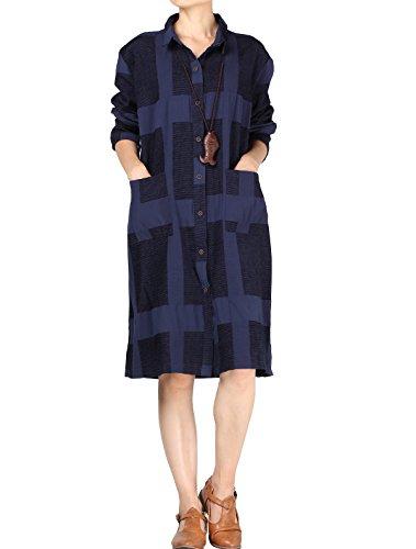 Vogstyle Damen Baumwoll Lang Bluse Plaid Shirt Kleid mit Zwei Taschen Taschen Blue L (Damen-knopf-front-shirt)