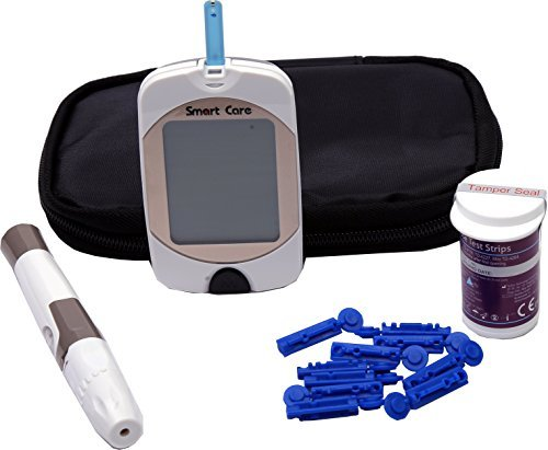 Smart Care Diabetes Blood Glucose Testing Kit, METER, 10 Test Strips, 10 Lancets, Lancing Device, Manual & Carry Case  available at amazon for Rs.973