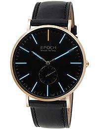 Epoch 6025G 50m Wasserdicht Tritium blau Luminous Ultrathin Case Schutzhülle Lederband Business Herren Quarzuhr Armbanduhr–Rotgold-Finish