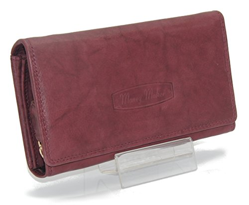 J1213 Damen Leder Geldbörse Damen Portemonnaie Damen Geldbeutel - Lang Mittel Kurz verschiedene Farben --präsentiert von RabamtaGO®-- (mittel-Bordeaux)