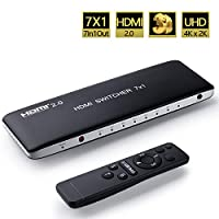 Univivi HDMI Switch 4k@60Hz HDMI 2.0 Switch 7 port 7x1 HDMI Switcher Hub Box Support 4Kx2K Ultra HD 3D With Remote Control And USB Cable