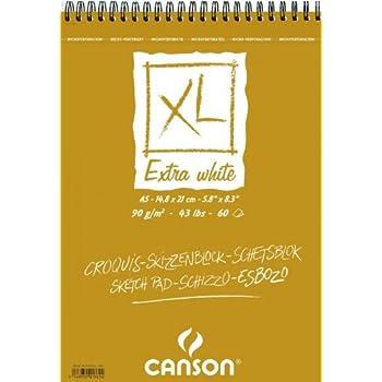 """'CANSON bloc 200001869XL Extra blanc Fein 90g/m², 50feuilles par bloc """"Spirale sur le côté court, 148x 217mm,"""