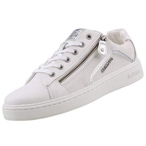 MUSTANG Damen 1321-302-121 Sneaker, (Weiß/Silber 121), 40 EU