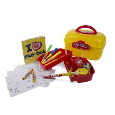 Play-Doh Valisette en Plastique Contenant Crayons de Couleur/Feutres/Pastels/Livre de coloriage/Pâte à Modeler/Outils/Pochoirs
