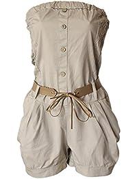 b0274742358a Bandeau Overall kurz Leder Gürtel Jumpsuit Einteiler Stretch Hosen Anzug  Knöpfe